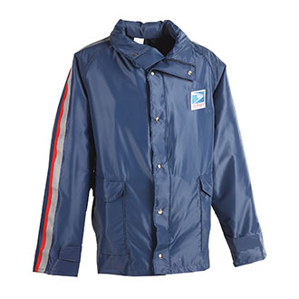 Mens Traditional Postal Hooded Rain Jacket for Letter Carriers and Motor Vehicle Service Operators